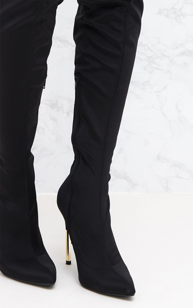 Black Lycra Over The Knee Slim Heel Skin Boot 5