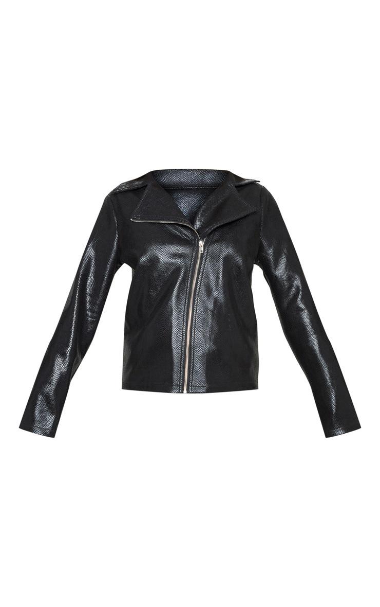 Black Snake PU Biker Jacket 3