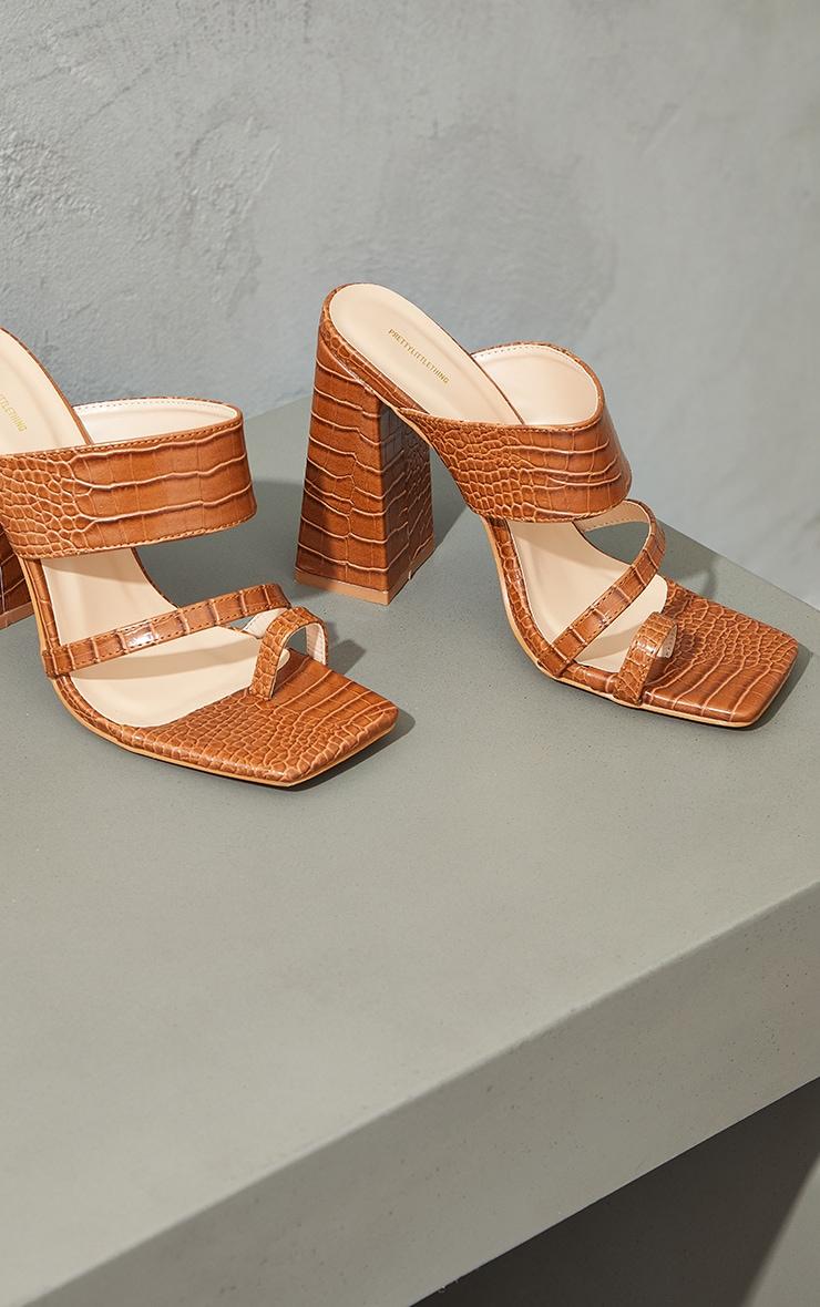 Tan Wide Fit PU Croc Toe Loop Block Heel Mules 4