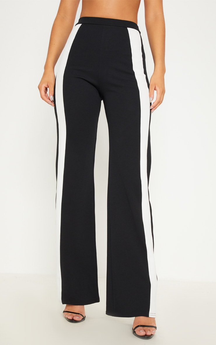Monochrome Contrast Panel Wide Leg Trousers 2