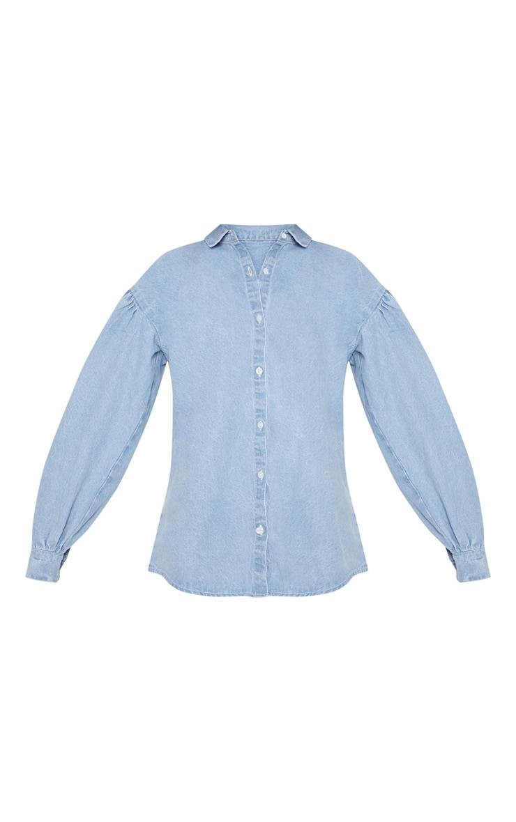 Light Wash Balloon Sleeve Denim Shirt  3