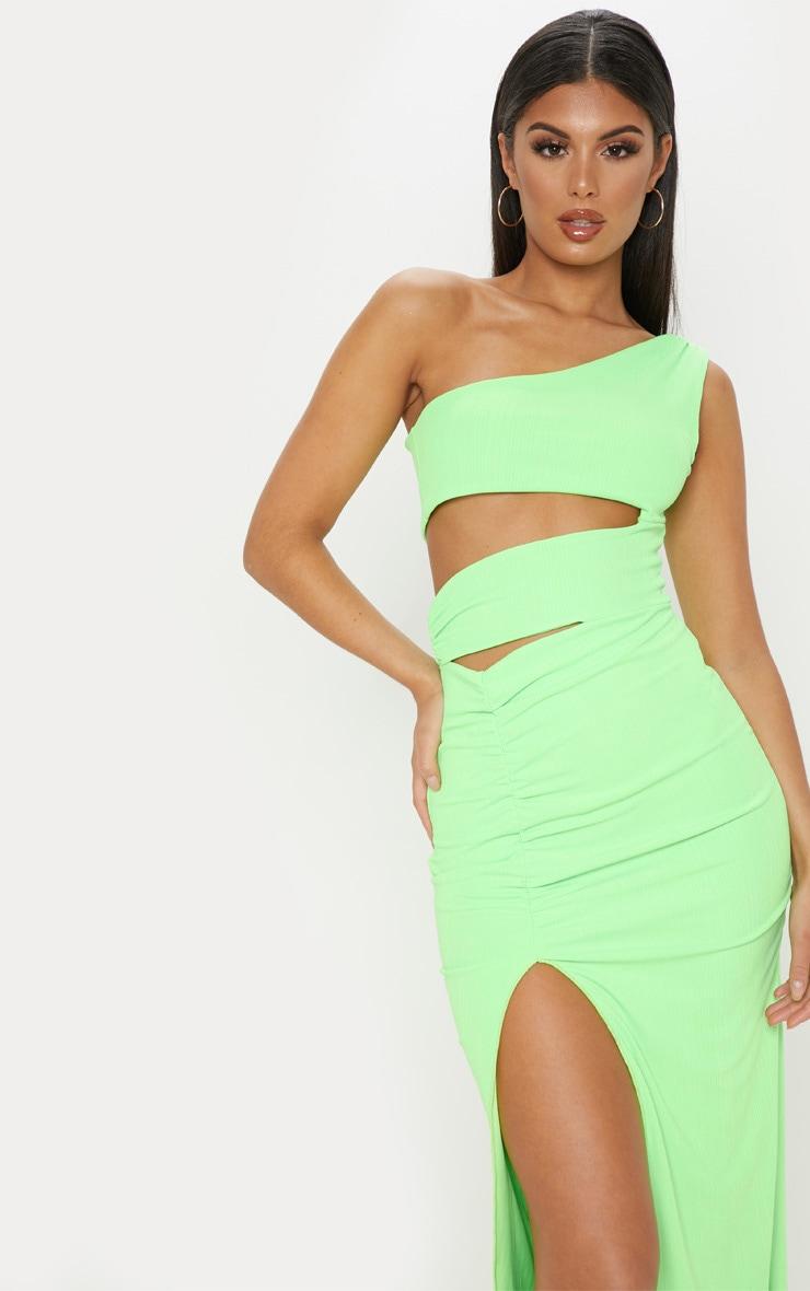 Neon Lime Slinky Rib Cut Out Split Maxi Dress 5