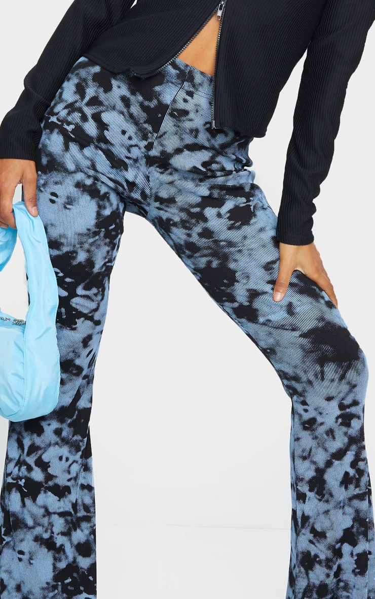 Steel Blue Tie Dye Ribbed Flared Pants 4