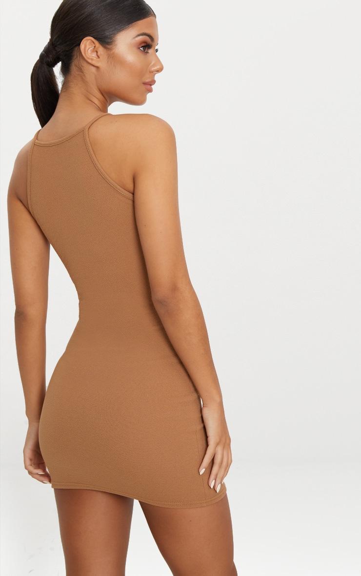 Aniqah Camel High Neck Split Detail Bodycon Dress 2