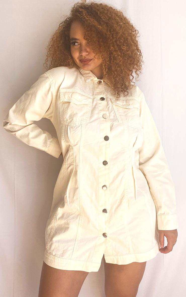 Plus Ecru Pocket Detail Button Down Denim Shirt Dress 3