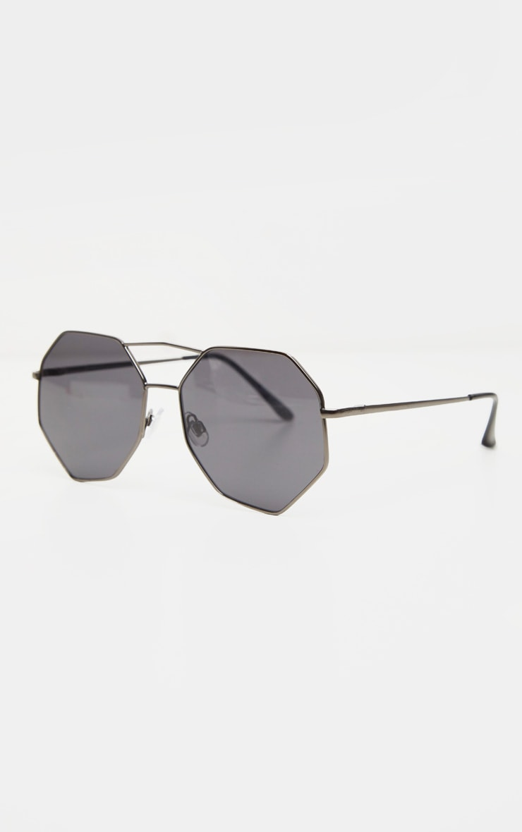 Black Hexagon Double Bar Sunglasses 2