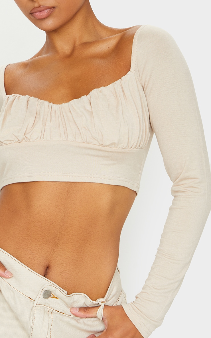 Sand Jersey Long Sleeve Ruched Crop Top 4