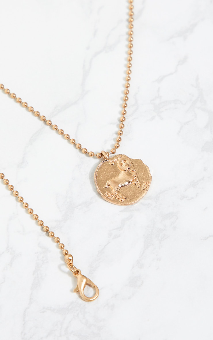 Gold Zodiac Aries Coin Pendant Necklace 4