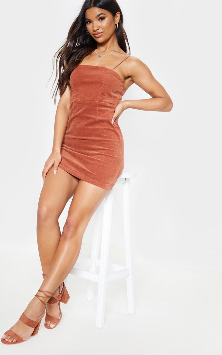 Tan Cord Mini Dress  1