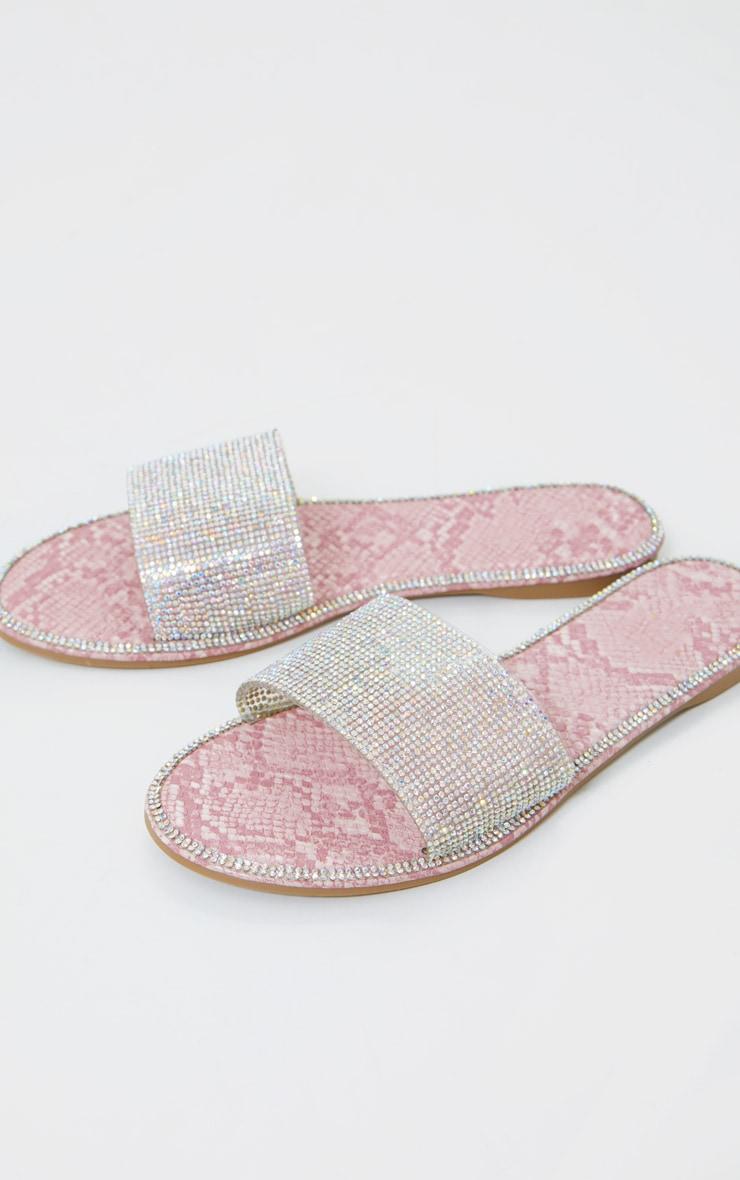 Pink Snake Hot Fix Diamante Clear Slides 1