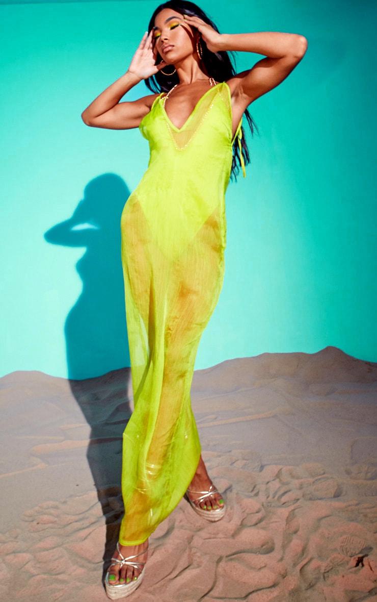 Lime Chiffon Maxi Beach Dress 5