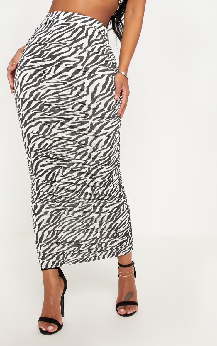 Shape Black Zebra Print Ruched Midi Skirt 2