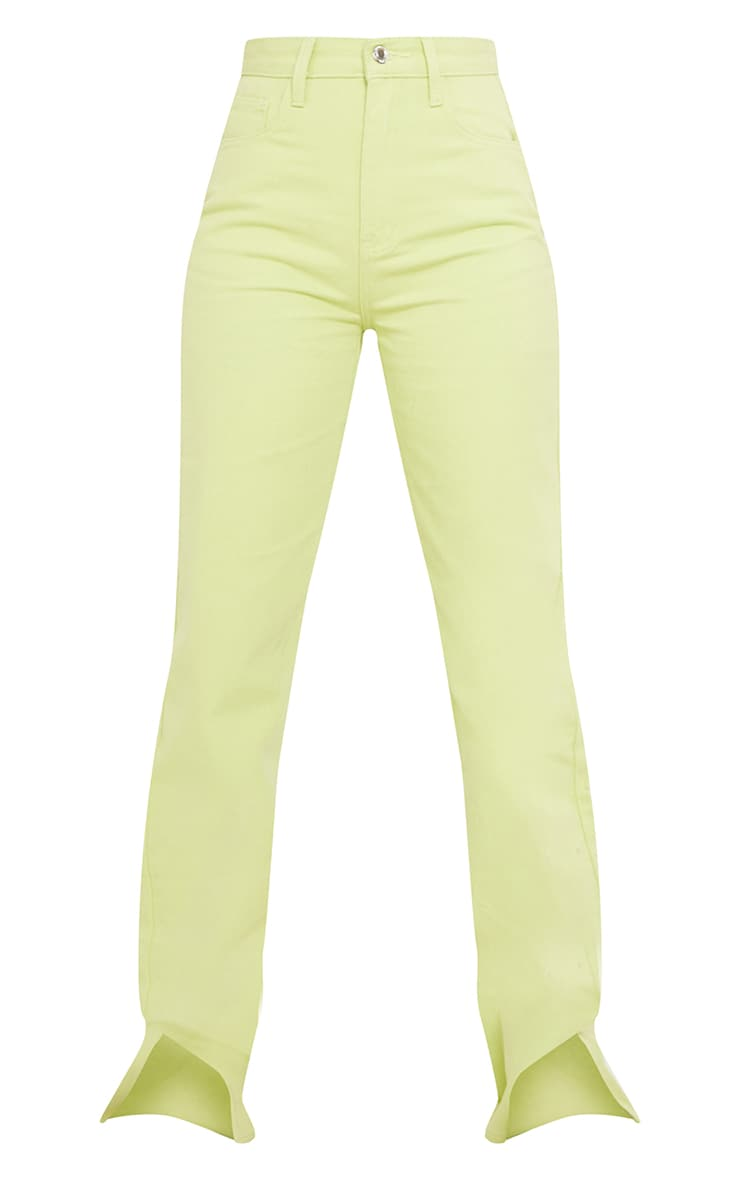 Tall Lime Washed Split Hem Denim Jeans 5