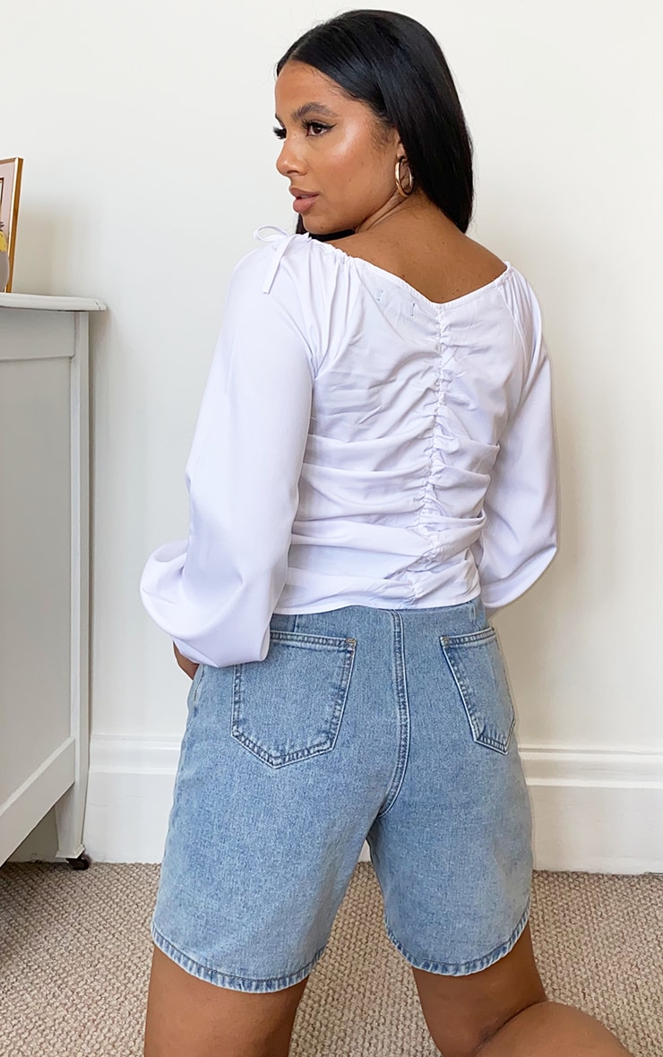White Oversized Sleeve Woven Ruched Blouse 2