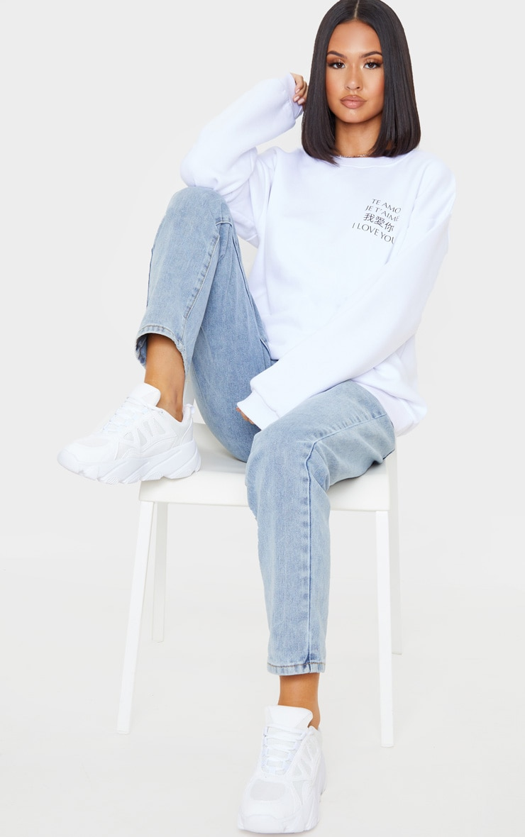 White I Love You Slogan Oversized Sweater 4