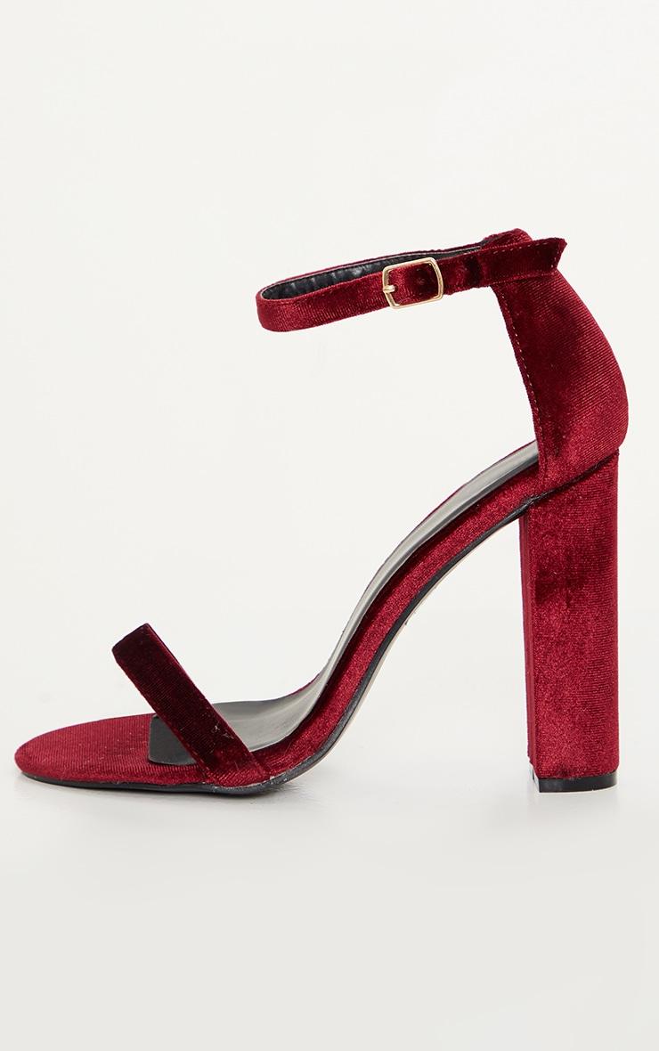 Deep Red May Velvet Heeled Sandals 2