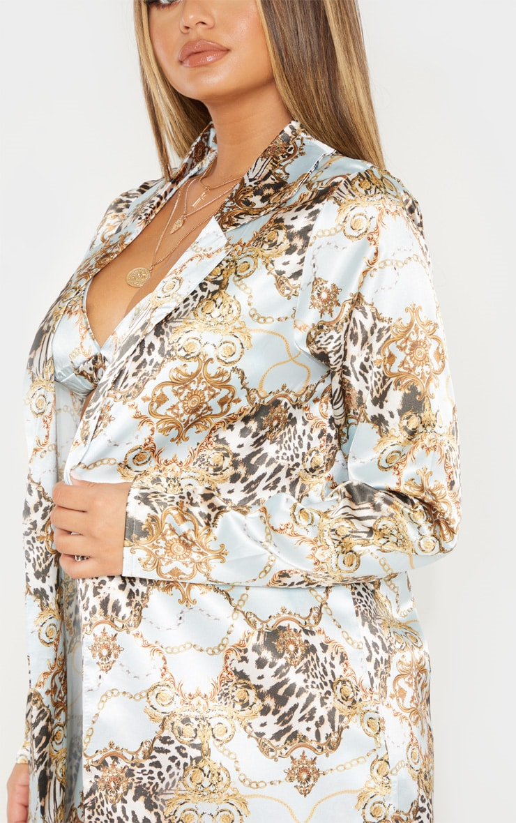 Light Blue Chain Print Satin Blazer 5