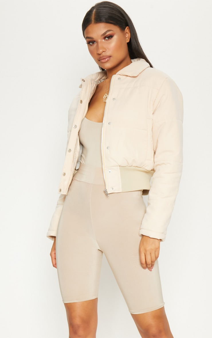 Beige Peach Skin Cropped Puffer Jacket 1