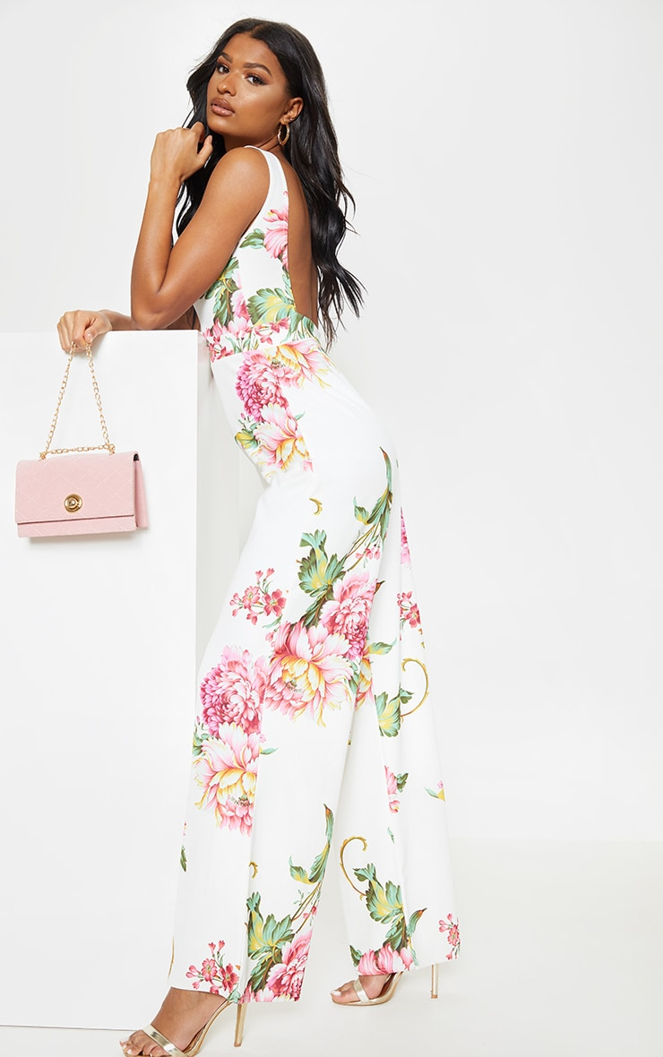 00171388d8f White Floral Print Plunge Backless Wide Leg Jumpsuit image 1