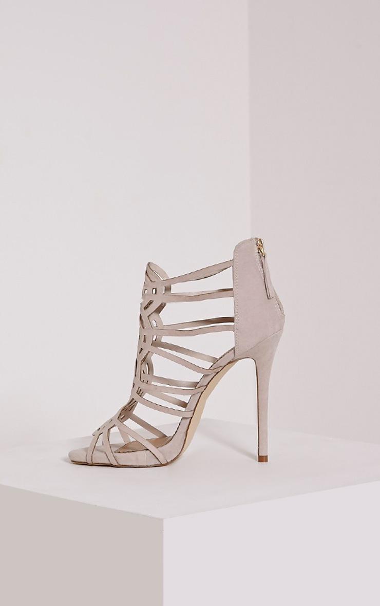 Shona Nude Faux Suede Laser Cut Heels 4