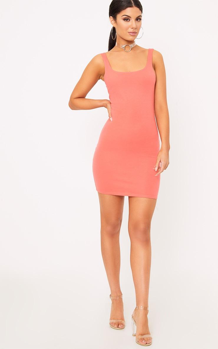Carolin Coral Scoop Neck Bodycon Dress 3