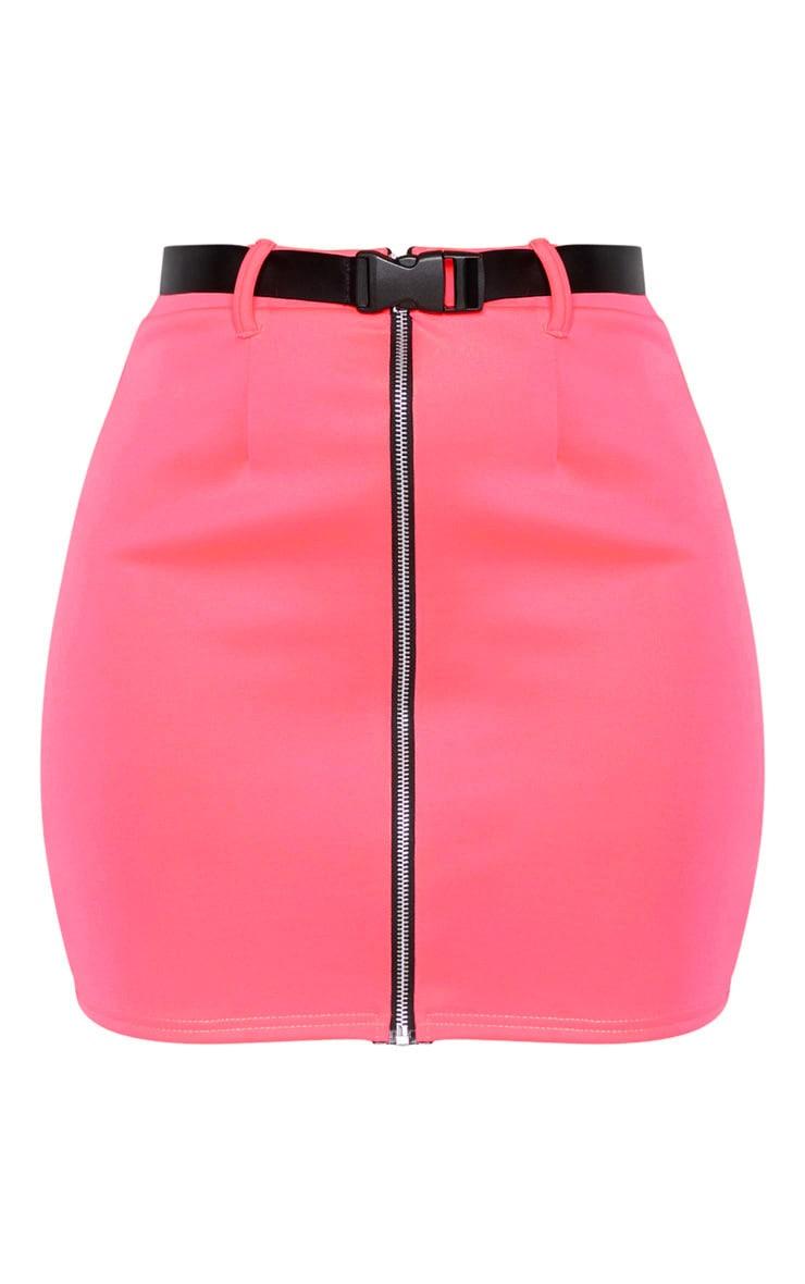Neon Pink Zip Front Belted Mini Skirt  3