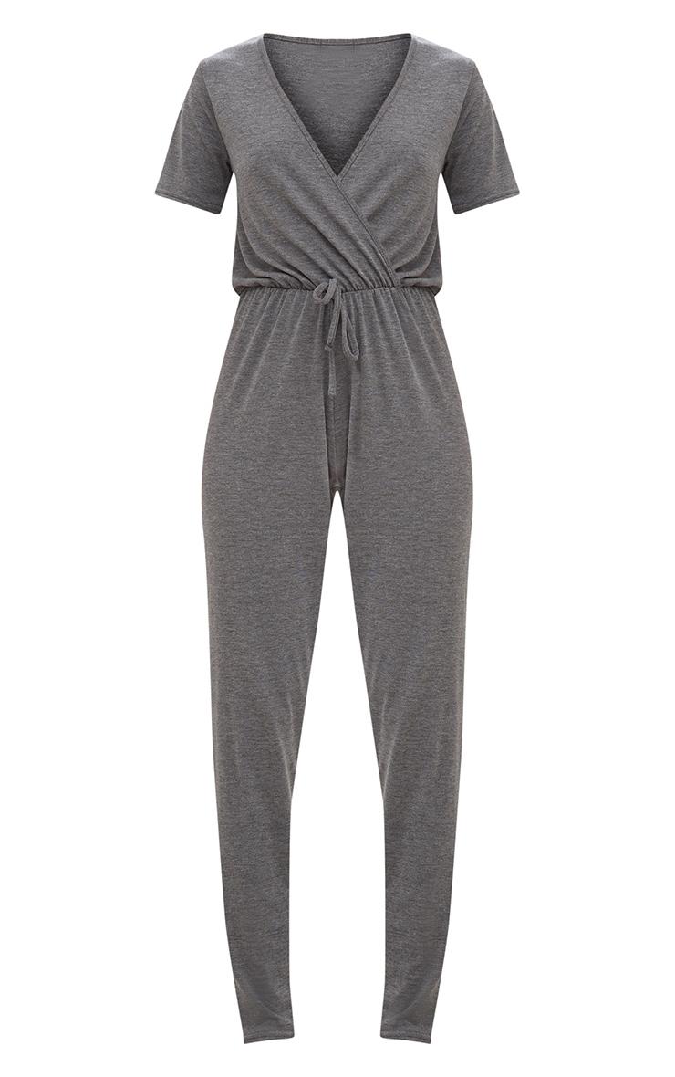 Charcoal Jersey Wrap Jumpsuit  3