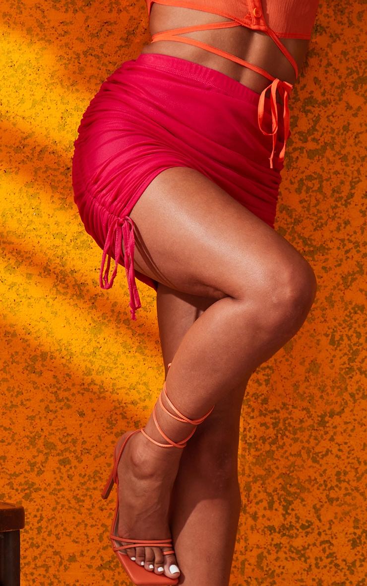 Hot Pink Mesh Ruched Mini Skirt 6