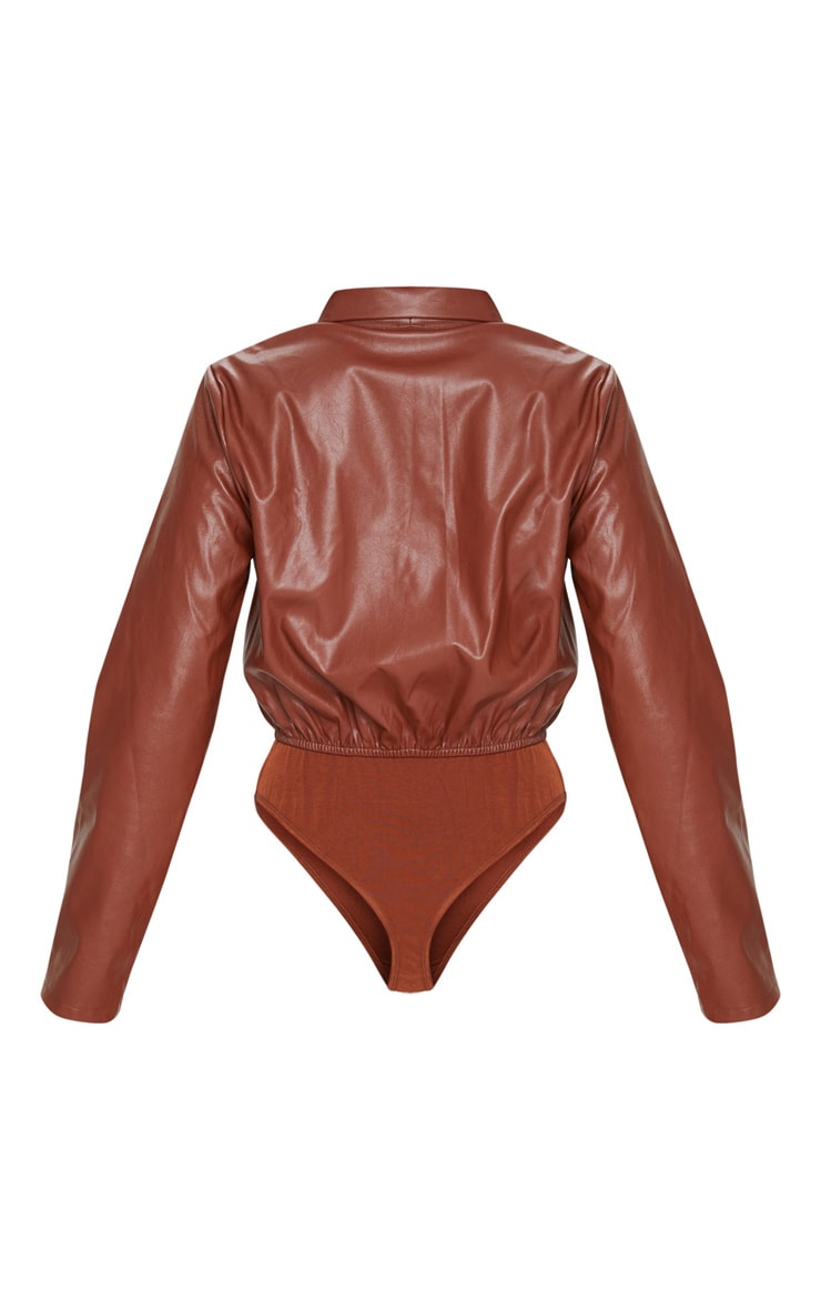 Chocolate Faux Leather Shirt Bodysuit 6