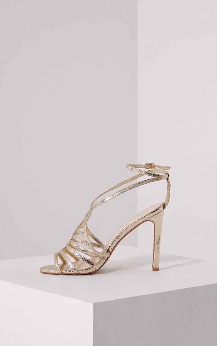 Pamela Gold Strappy Heeled Sandals 3