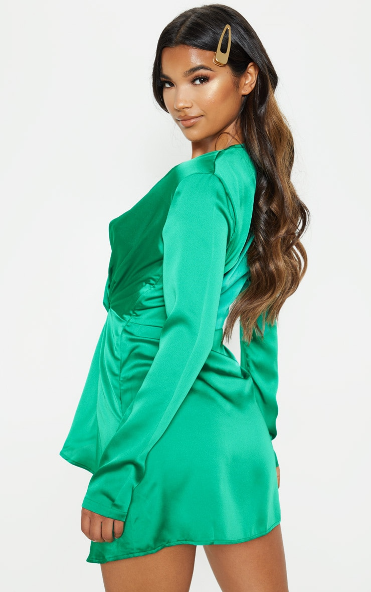 Green Satin Long Sleeve Wrap Dress  2