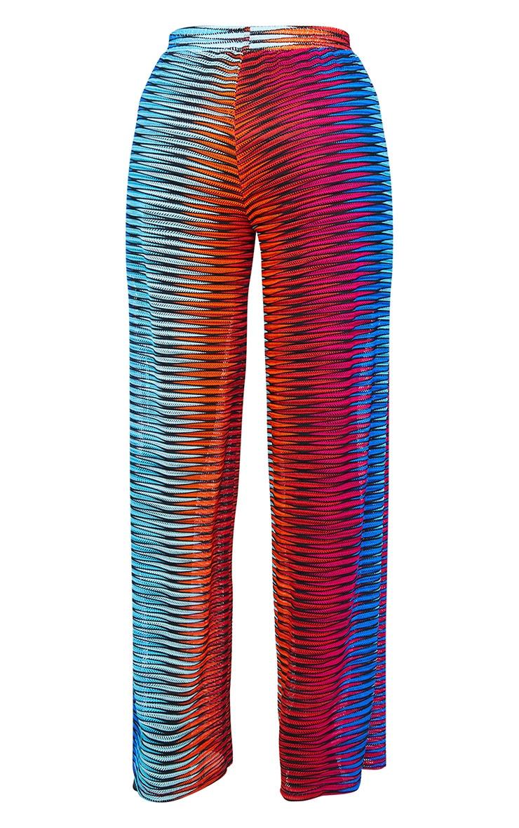 Pantalon de plage évasé multicolore à découpes laser et rayures 5