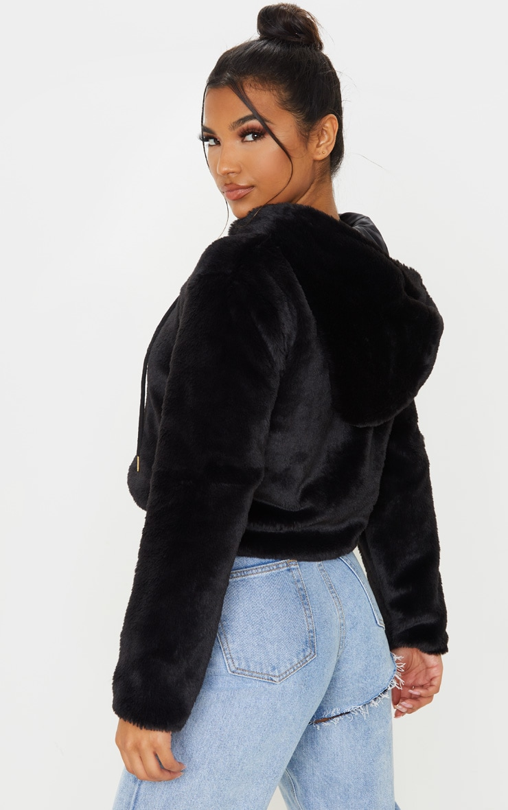 Black Faux Fur Cropped Hooded Jacket 2