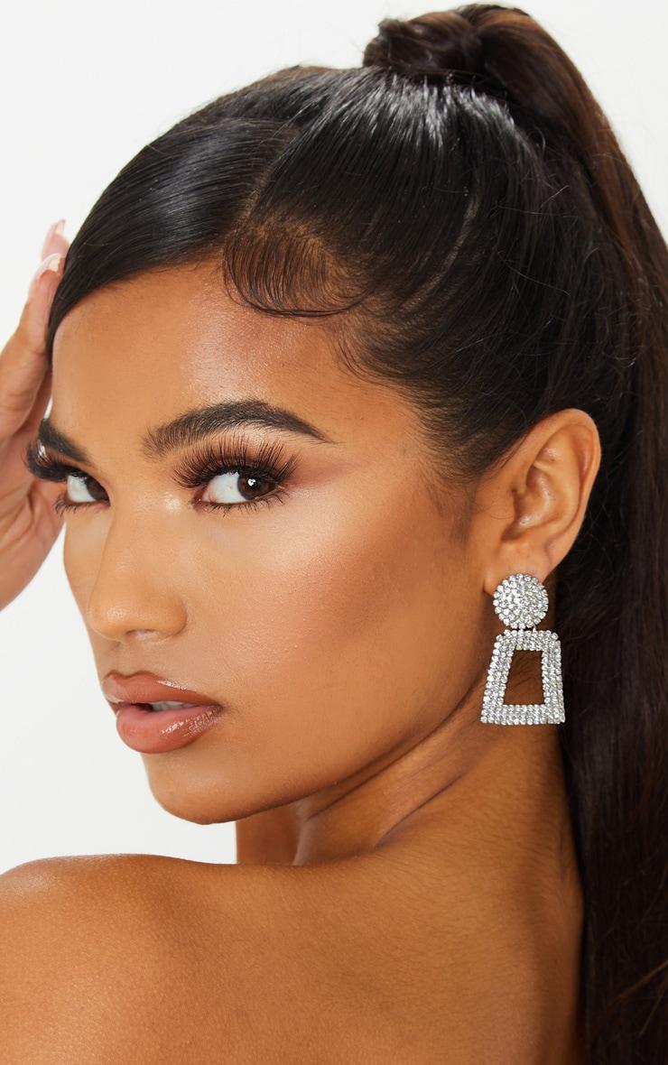 Silver Texture And Diamante Door Knocker Earring 1