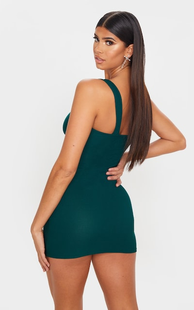 Emerald Green One Shoulder Bodycon Dress