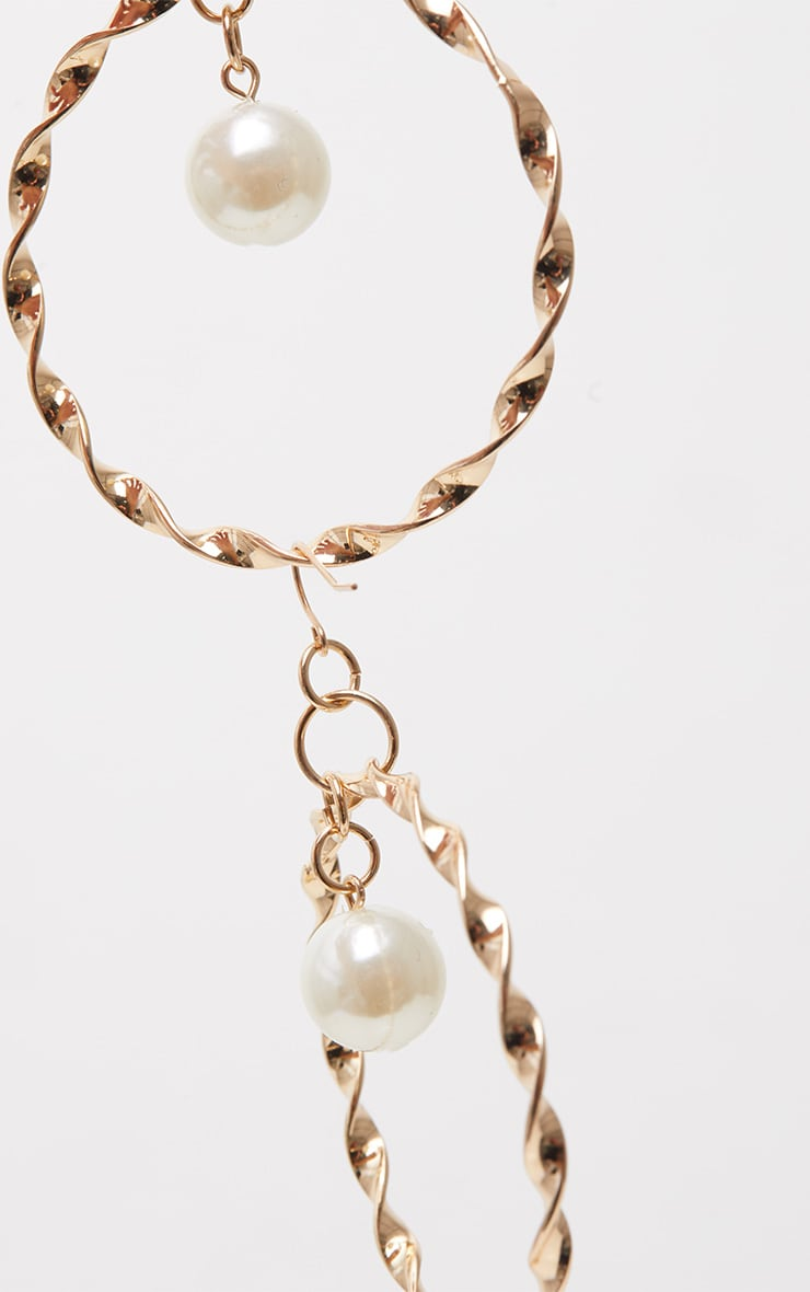 Gold Twist Pearl Hoops 3