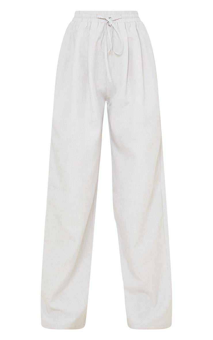 Petite Grey Casual Linen Feel Wide Leg Trousers 5