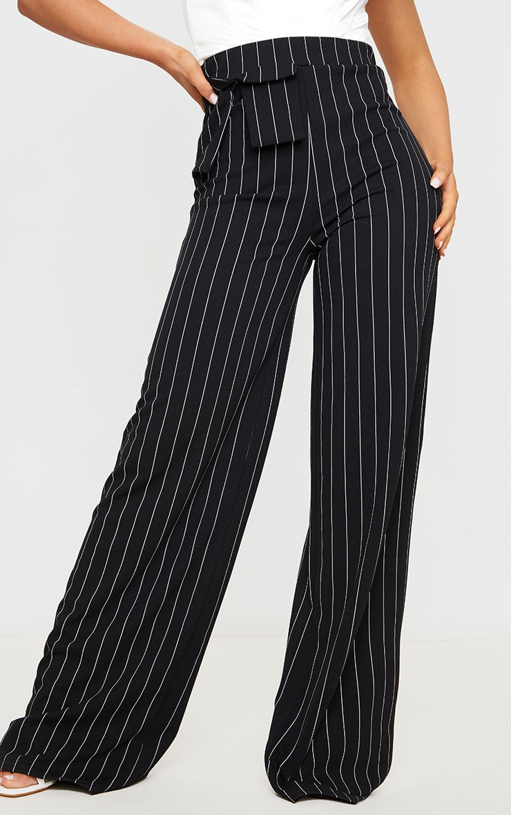 Black Pinstripe Pocket Detail Crepe Wide Leg Trousers 3