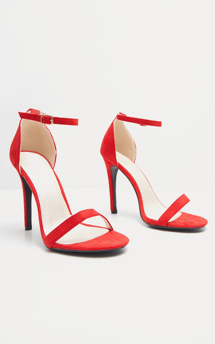 Clover Red Strap  Heeled Sandals 3