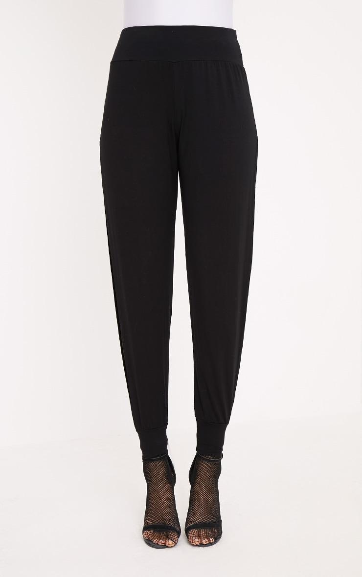 Chasity pantalon en jersey fendu sur le côté noir 2