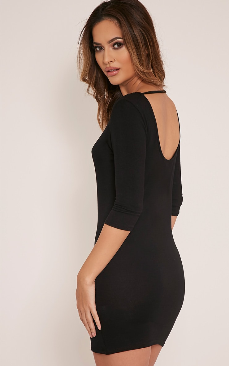 Basic Black Scoop Back V Hem Dress 4