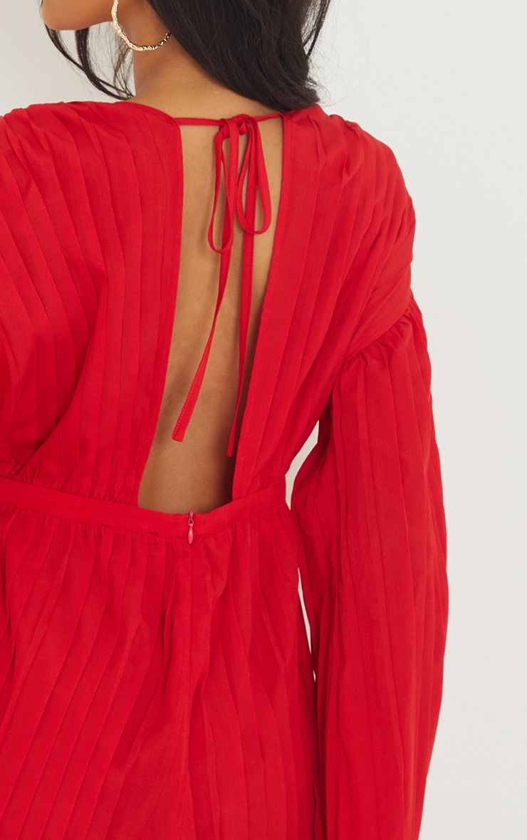 Red Plunge Pleated Playsuit 4