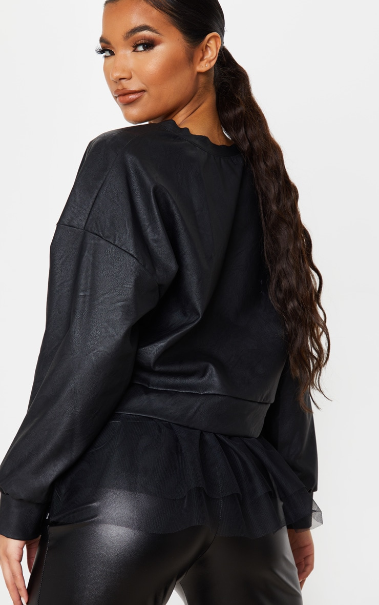 Black Faux Leather Tulle Peplum Long Top 3