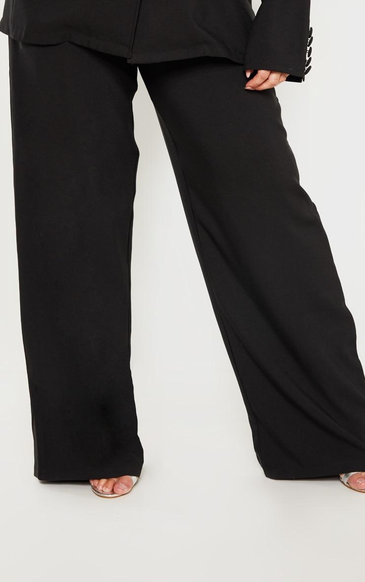Plus Black Button Detail Wide Leg Pants 5