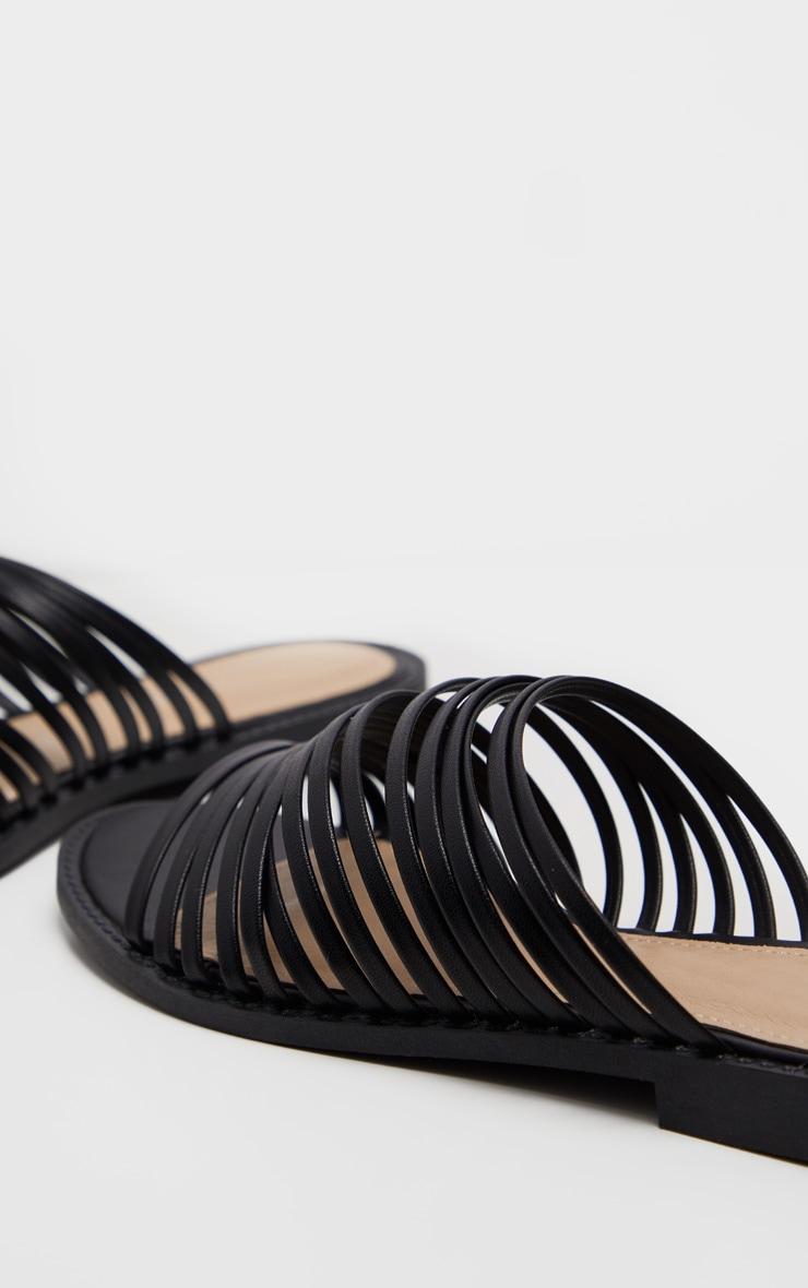 Black Strappy Mule Flat Sandal 4