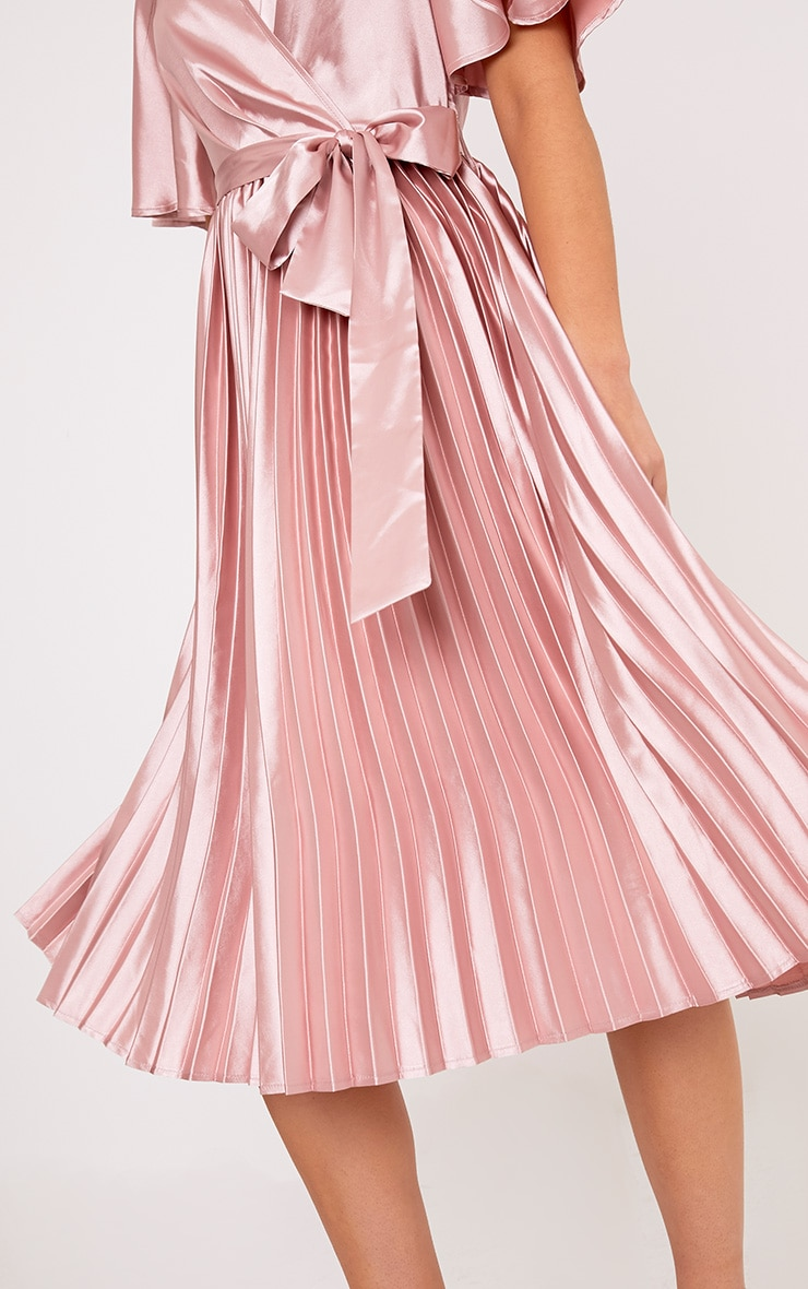 Mairee Dusty Pink Satin Pleated Midi Dress 5