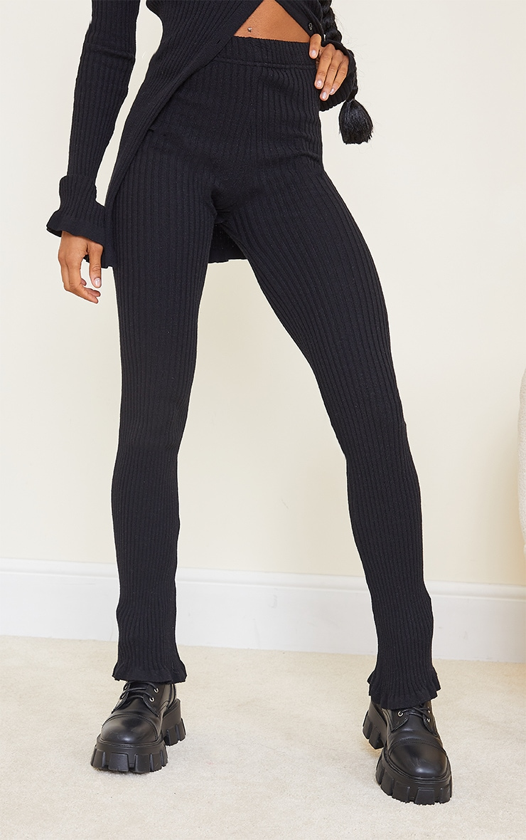 Black Ribbed Knitted Flare Trousers 2