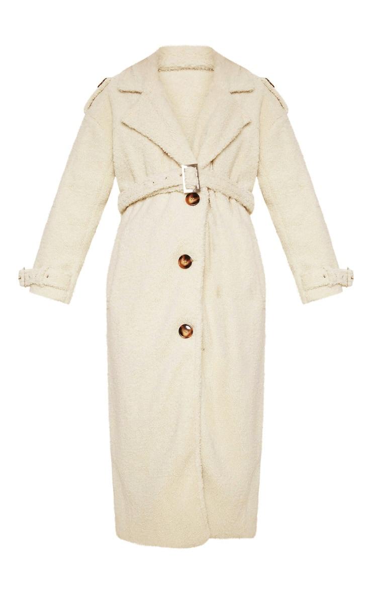 Cream Borg Oversized Belted Coat 5