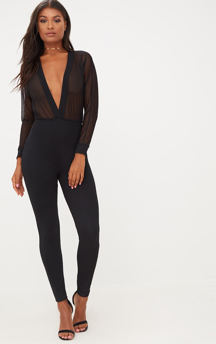 86afd7b4d19 Black Mesh Plunge Long Sleeve Jumpsuit. Jumpsuits and Playsuits ...