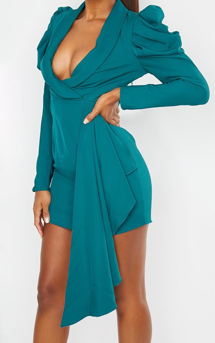 Emerald Green Puff Sleeve Drape Detail Blazer Dress 4